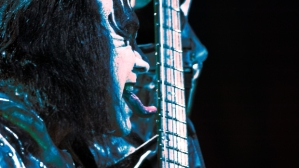 Gene Simmons of US rock group Kiss perfo